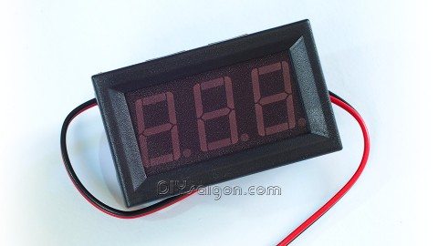 """3-DIGIT BLUE LED 0.56"""" DIGITAL VOLTMETER, TWO WIRE BOX, 5-120VDC, WITH FINE-TUNING"""